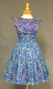 Charming Blue Floral Nylon 1960's Cocktail Dress
