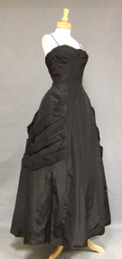 INCREDIBLE Frank Starr Swagged Black Taffeta 1950's Ball Gown