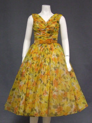 Superb Autumn Floral Chiffon 1950's Party Dress