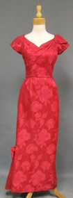 KNOCKOUT Fuchsia Damask 1960's Evening Gown w/ Side Train