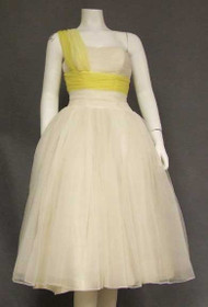 Fred Perlberg Ivory & Yellow Chiffon One Shouldered 1950's Prom Dress