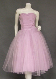 Lavender Taffeta & Tulle 1950's Prom Dress w/ Trapunto Detailing