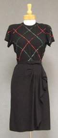 Classic Black Crepe 1940's Cocktail Dress w/ Red & Green Sequins
