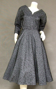 Slate Blue Taffeta 1950's Cocktail Dress w/ Black Braid Trim