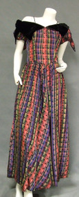UNIQUE Flocked Plaid Taffeta 1940's Evening Gown w/ Bustle