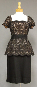 Black Illusion Lace 1950's Cocktail Dress w/ Peplum