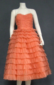 Salmon Lace & Nylon Strapless Vintage Prom Dress