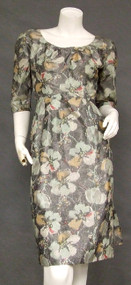 Elegant Grey Floral Silk 1960's Cocktail Dress