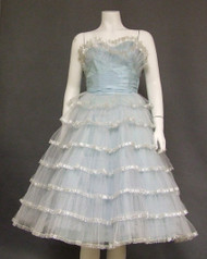Terrific Powder Blue Tiered Tulle 1950s Prom Dress w/ Silver Trim