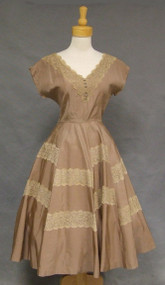 Beautiful Mocha Taffeta 1950's Cocktail Dress w/ Lace Accents