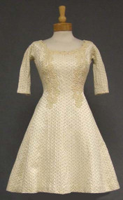 GiGi Young Cream Brocade 1960's Cocktail Dress w/ Lace Appliques