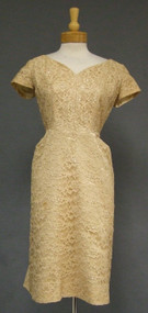 Sequined Tan Lace 1960's Cocktail Dress w/ Lovely Back