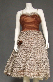 STUNNING Sepia & Ivory Lace & Tulle 1950's Cocktail Dress