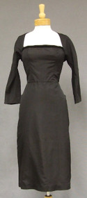 Dramatic Black Silk Faille 1950's Cocktail Dress