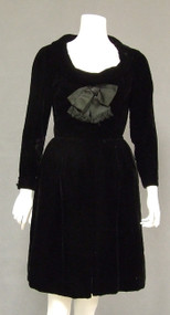 Plush Black Velvet Oleg Cassini 1960's Cocktail Dress