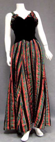 Black Velvet & Plaid Taffeta Late 1930's Evening Gown