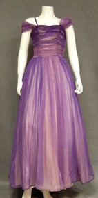 Purple Ombre Marquisette Evening Gown w/ Shoulder Wrap