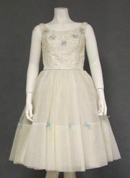 Charming Ivory Chiffon 1960's Party Dress w/ Sequin Trim