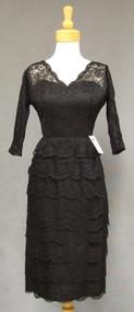 Curvaceous Tiered Black Lace 1950's Cocktail Dress