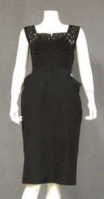 Black Faille 1950's Cocktail Dress w/ Rhinestones & Pearls