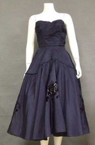 Wonderful Strapless Navy Taffeta 1950's Cocktail Dress w/ Appliqued Skirt