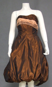 Stunning Copper Taffeta Strapless 1950's Bubble Cocktail Dress
