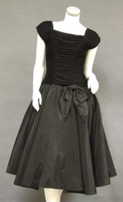 Gorgeous Gathered Black Jersey & Taffeta 1950's Cocktail Dress