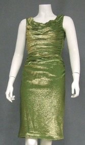 Gathered Green Metallic Knit Vintage Cocktail Dress
