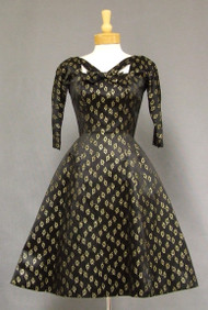 Suzy Perette Black & Gold Brocade 1950's Cocktail Dress