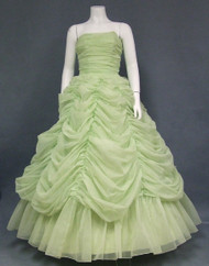 OUTSTANDING Draped Green Chiffon Vintage Ball Gown