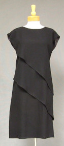 Pierre Cardin Tiered Black Crepe 1980's Cocktail Dress