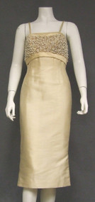 Elegant Cream Silk 1960's Cocktail Dress w/ Pearl Topped Bodice