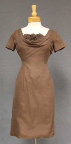 Mocha Chiffon Vintage Wiggle Dress w/ Shelf Bust & Fluttering Train