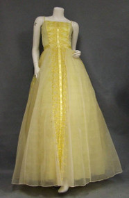 Sunny Yellow Chiffon 1960's Evening Gown w/ Embroidery