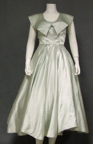 Pale Silvery Green Satin Strapless 1950's Dress w/ Topper
