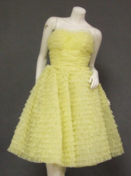 RUFFLES!  Yellow Nylon Strapless Vintage Prom Dress w/ Wrap
