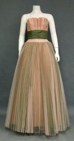 EXQUISITE Pink & Green Tulle 1950's Ball Gown