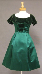 Oleg Cassini Green Silk Satin & Velvet 1960's Cocktail Dress