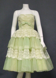 Ivory Lace & Sea Green Nylon Vintage Prom Dress