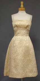Harry Keiser Gold Matelasse 1960's Cocktail Dress