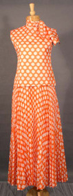 FANTASTIC Pierre Cardin Tangerine & White Polka Dotted Evening Gown