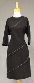 Pretty Black Crepe 1940's Cocktail Dress w/ Diagonal Beading 40