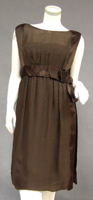 Chocolate Chiffon & Satin 1960's Sarmi Cocktail Dress