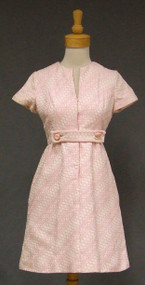 Chic Pink & Ivory Brocade Sarmi 1960's Cocktail Dress