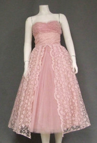 Strapless Pink Lace & Tulle 1950's Prom Dress