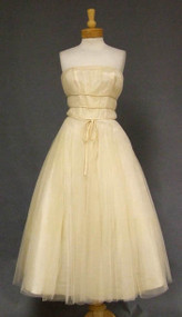 STUNNING Gathered Cream Tulle 1950's Dress w/ Satin Trim & Matching Topper