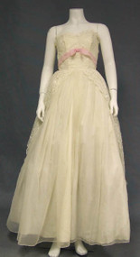 Ivory Strapless 1950's Ball Gown w/ Pink Nylon Accent