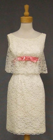 Flirty Ivory Lace 1960's Cocktail Dress w/ Pink Satin
