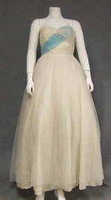 Charming White Tulle 1950's Prom Dress w/ Blue Sash