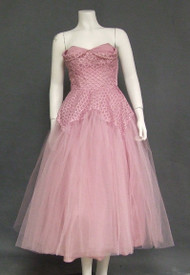 Lavender Tulle 1950's Prom Dress w/ Ribbon Embroidery